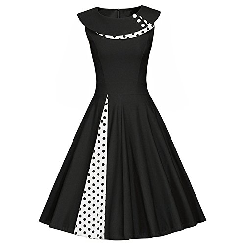 iBaste Women 50s Vintage Retro Polka Dots Sleeveless Housewife Rockabilly Evening Party Cocktail Swing Dress Size 6 8 10 12 14 16 18 20