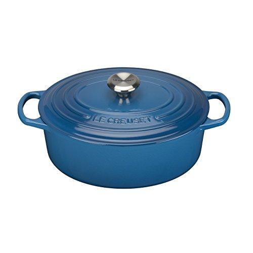 Le Creuset Evolution - Cocotte oval, de hierro colado esmaltado, 31 cm, color azul marsella