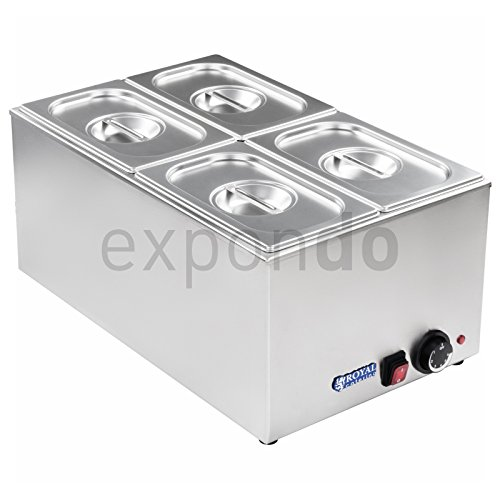 Royal Catering - RCBM-1 - Bain Marie 1/4 - max 95°C - 230 Volt - 1200 Watt - 150mm depth - 4x1/4 GN-containers Test
