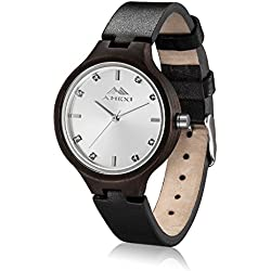 AMEXI Women's Quartz Watches With Soft Genuine Leather Strap Watches For Lady Black Sandalwood Case and Stone Face