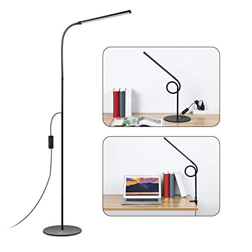 ACCEWIT Lámpara de pie LED Regulable Lámpara 2 en 1 Lámpara de clip 8W 72 Blanco cálido y blanco natural Protección ocular LED Lámpara de lectura giratoria flexible moderna Lámpara de pie