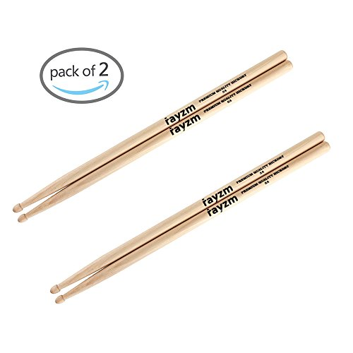 Rayzm Bacchette per Batteria 5A, Bacchette per Batteria/Percussioni in Robusto Noce Americano, Punte in Legno
