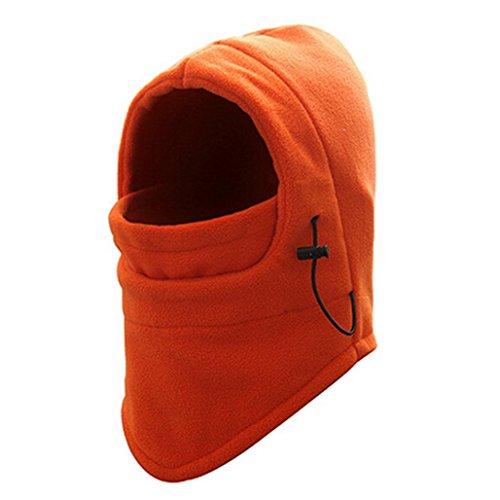 Gesichtsmaske Hut,Beikoard Damen Herren Winter Fleece Schal Nackenwärmer Gesichtsmaske Skifahren Radfahren Wander Maske Hooded Kopfhaube für Sport und Outdoor (Orange)