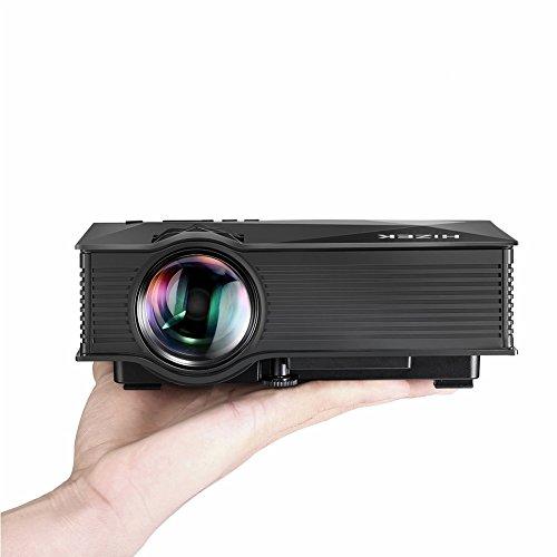 WiFi Beamer, Hizek Mini Projektor mit 1200 Lumens LED Multimedia Heimkino Home Cinema Theater für Telefon / Laptop / PC / SD Karte / Play Station / TV Box / Xbox / USB Disk (Schwarz)