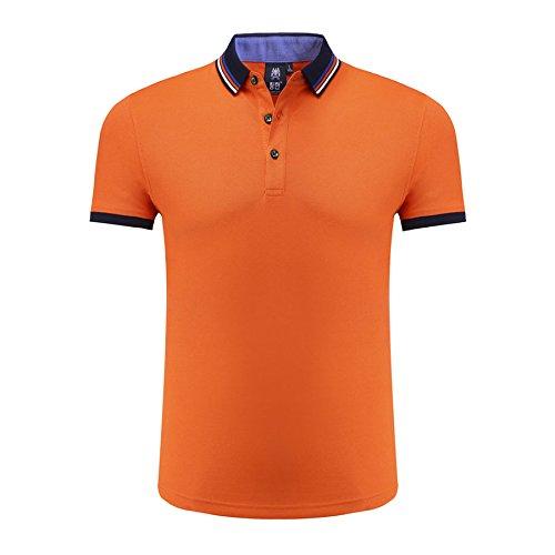 VB Donna Uomo Polo Shirt strisce bavero puro cotone addensato a maniche corte Orange
