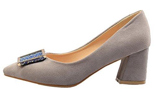 Légeres VogueZone009 Femme Couleur Talon Correct Dépolissement à Gris Chaussures Unie nq7Hrq8wxB