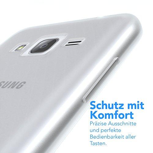 Samsung Galaxy J3 Hülle - EAZY CASE Ultra Slim Cover Handyhülle - dünne Schutzhülle aus Silikon in Grün Matt Transparent / Weiß