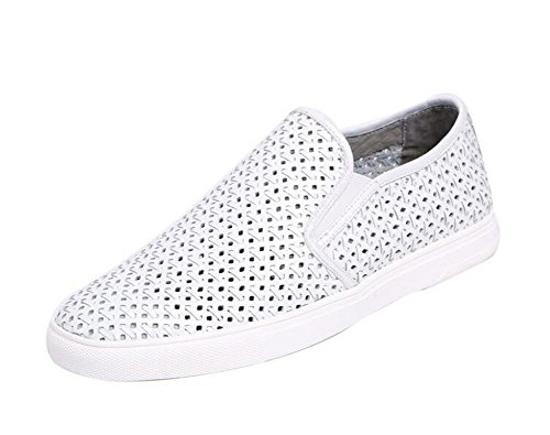 GLSHI Hommes Oxfords Flats Chaussures Été Nouveau Hollow Respirant Board Chaussures Chaussures Chaussures Casual Casual Trend Driving Shoes Chaussons White