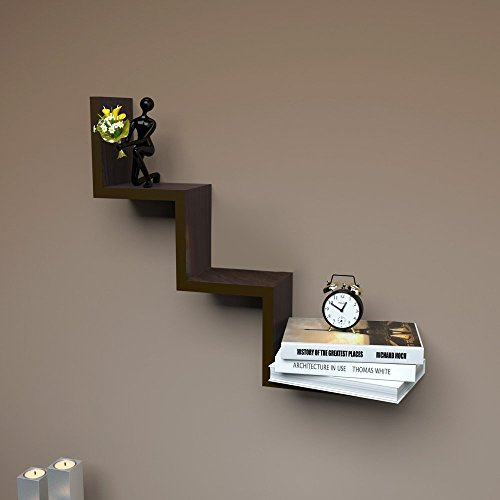 Wooden Rich Walnut Finish W Shape Wall Mount Book Shelf Zigzag Wall Shelf By Artesia  available at amazon for Rs.645