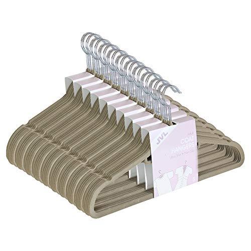 Jvl - confezione di 50 grucce sottili salvaspazio, rivestite in velluto antiscivolo, colore: beige visone