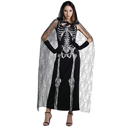 EraSpooky Damen Spinnennetz Skeleton Lady Halloween Kostüm