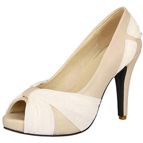 COOLCEPT Damen Stiletto Peep Toe Hohe Ferse Schuhe Plateau Heels Hochzeit Pumps 8 Colors Beige