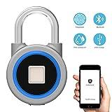 Konesky Fingerprint Vorhängeschloss Smart Bluetooth Vorhängeschloss APP Steuertür Gepäck Koffer Schloss IP65 Wasserdicht bis zu 16 Fingerabdrücke Aufnahme für Android/iOS Safe Lock