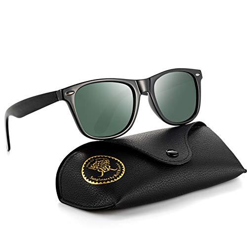Rocf Rossini Polarisiert Herren Sonnenbrille für Damen klassisch Retro Sonnenbrillen Männer und Frauen Vintage Anti Reflexion UV400 Schutz - Unisex (Schwarz/Grün)