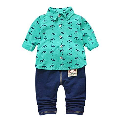 feiXIANG Kleinkind Zweiteiliges Set Junge Kind Lange Ärmel Krone Drucken Shirt Tops Hemd Denim Hosen Bekleidungsset (A/Grün,100) (Kleinkind Karierte Vans)