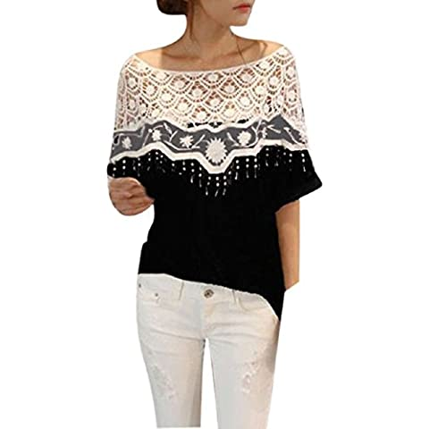 Malloom® Crochet Cape colletto in pizzo T-shirt