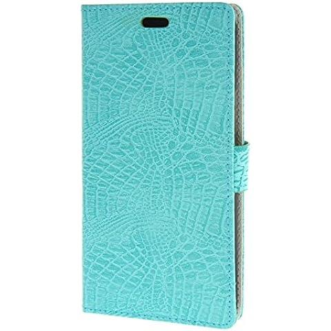 MOONCASE per Motorola Moto X Play Case modello del serpente Leather Custodia in pelle Flip Case Protettiva Portafoglio Cover Azzurro