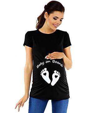 [Sponsorizzato]Zeta Ville - Magliette Premaman Divertenti Stampa T-Shirt Top - Donna - 199c
