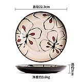 NiNnn Piatto in Ceramica Stile Giapponese Dipinta a Mano Modello Floreale Piatto di frittata di Spaghetti Piatto da tavola Home Vintage Piatto da tavola Torta piattino, Piatto Piatto da 8,5 Pollici