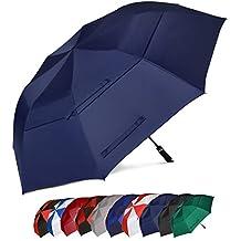 Eono Essentials, ombrello da golf, portatile, doppio telo, antivento, automatico, resistente e oversize, 158 cm, colore blu navy