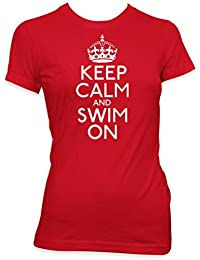 Keep calm and swim on ladies swimming gift t shirt womens Red shirt white print