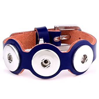 Morella Unisex Armband Leder für Click-Button Knöpfe blau