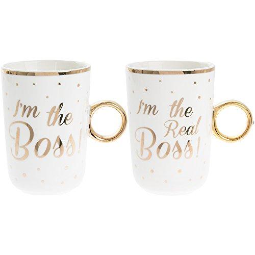 Set von 2Fine China Stapeln, Tee/Kaffee Tassen,-I 'm The Boss/I 'm The Real Boss.-Beziehung/Hochzeit/Jahrestag Gold Polka Dot Detail & Griff Polka Dot Tee-set