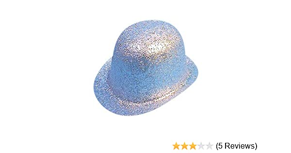 354bc45886a93 Hat Glitter Bowler Silver PVC for Fancy Dress Party Accessory   Amazon.co.uk  Toys   Games
