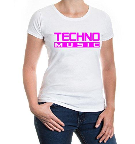 buXsbaum® Girlie T-Shirt Techno Music White-Neonpink