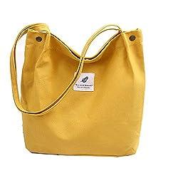 Funtlend Canvas Tasche Damen Handtasche Groß Umhängetasche Henkeltasche Damen Canvas Shopper für Mädchen Schule Einkäufe-Gelb-40*32*11
