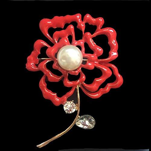 Yarmy Broches para Ropa Mujer Esmalte Rojo Retro Gota Aceite cártamo Perla Brillante Recorte Delicado Broche Broche otoño e Invierno
