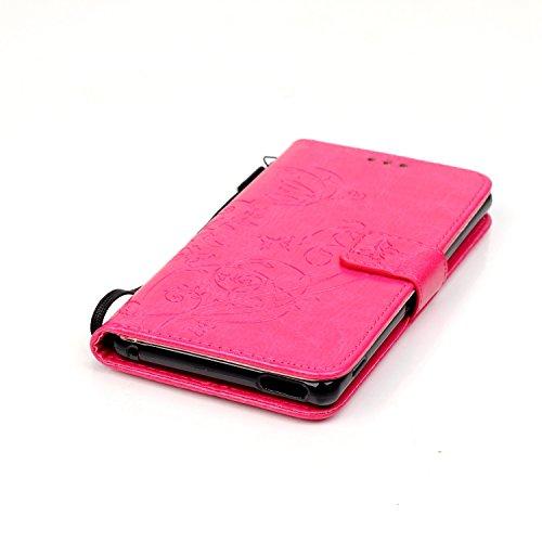 Prägen Blumen-Case, Magnetverschluss Synthetische PU-Leder-Kasten-Abdeckung mit hängenden Seil und Wallet-Funktion für Sony M4 AQUA ( Color : Blue , Size : Sony M4AQUA ) Rose