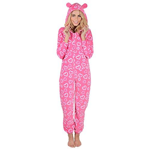 Damen Fleece Pyjama – Rosa Herzen Onesie - 2
