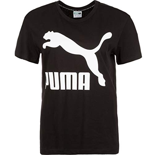 Puma Damen Classics Logo Tee T-Shirt, Cotton Black, M