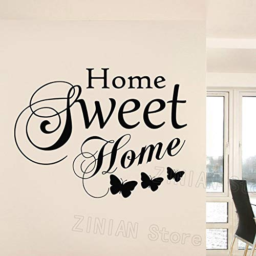 guijiumai Family Love Vinile Wall Art Stickers Citazioni Home Sweet Home Words Stickers murali Soggiorno Butterfly Decorazione Camera da Letto Murale Nero 74X56 cm