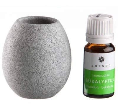 Speckstein Duft (SudoreWell® Saunakko/Aromaschale aus Speckstein + Saunaaufguss Eukalyptus)