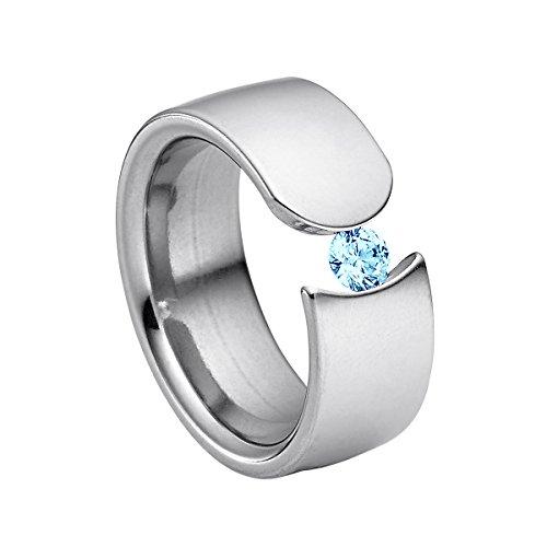Heideman Ring Damen Figura aus Edelstahl Silber farbend poliert Damenring für Frauen mit Swarovski Stein Zirkonia blau im Brillant Schliff 4mm