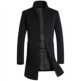 Autumn Winter Men Casual Coat Thicken Woolen Trench Coat Single Breasted Standing Collar Solid Classic Business Male Overcoat,Black,XXL