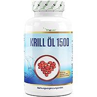 Krill Öl 1500-135 Softgel Kapseln - Hochdosiert mit 1500 mg pro Tag - Reich an EPA, DHA, Astaxanthin, Phospholipide und Omega 3 Fettsäuren, Antarktis Krillöl in Premium Qualität - Vit4ever