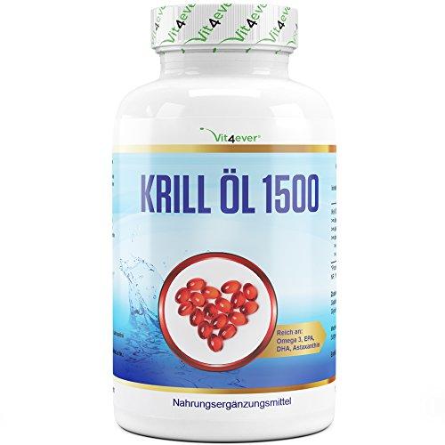Vit4ever® Krill Öl 1500 - 135 Kapseln - 1500 mg pro Tagesportion - Reich an EPA + DHA + Astaxanthin + Phospholipide + Omega 3 Fettsäuren - Laborgeprüftes Antarktis Krillöl - Hochdosiert - Premium Qualität -