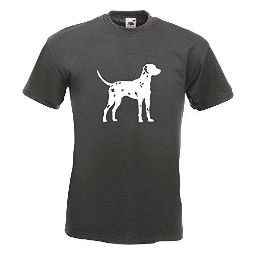 KIWISTAR - Dalmatiner Dalmatinac Hund T-Shirt in 15 verschiedenen Farben - Herren Funshirt bedruckt Design Sprüche Spruch Motive Oberteil Baumwolle Print Größe S M L XL XXL Graphit