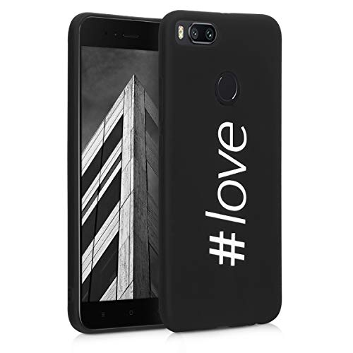kwmobile Funda para Xiaomi Mi 5X / Mi A1 - Carcasa de TPU para móvil y diseño Hashtag Love en Blanco/Negro