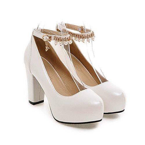 AllhqFashion Femme Pu Cuir à Talon Haut Rond Boucle Chaussures Légeres Blanc