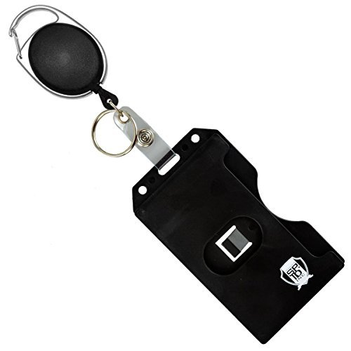 Specialist ID Carabiner Badge Reel with Vertical Multi Card Badge Holder and Key Ring (Black) by Specialist ID