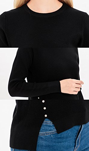 WanYang Femme Chandail à Manches Longues Sweater Pull Jumper Tops Tricots Pull Sweater Casual Chandail Hem Ouvert Noir