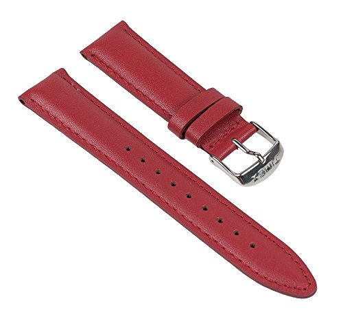 Rot Damen-uhr Timex (Timex Ersatzband Uhrenarmband Leder Rot 20mm passend zu T2N343)