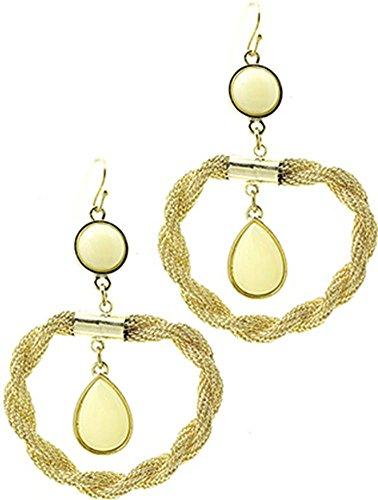 1 paio di orecchini da donna in acciaio beyoutifulthings giallo anello ritorto stretta, rete e pietre in vetro acrilico avorio lunghezza 7 cm