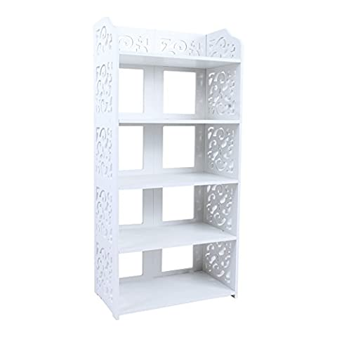 5-Tier Freestanding Shoe Rack, White Home Storage Organiser Shoe Standing, Space Saver Stackable Shelf Unit Shoes Storage Cabinet Entryway Bedroom (5-Tier)