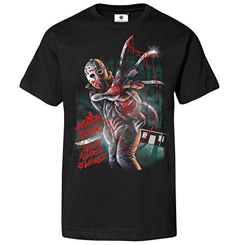 Customized by S.O.S Bedrucktes Herren Freitag der 13. T-Shirt Jason American Terror (S, Schwarz)