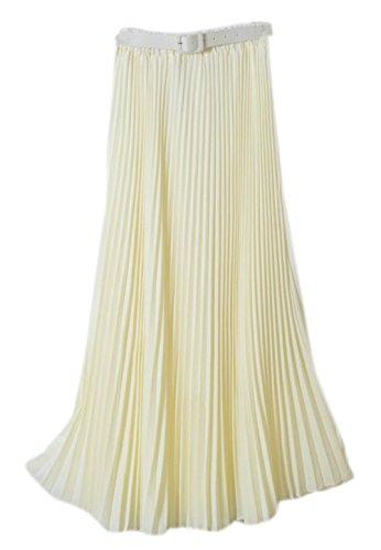 Honeystore Damen's Korean Chiffon Boho Plissee Retro Midi Wobble-elastischen Bund Tanz-Kleid Faltenrock Elfenbein One Size